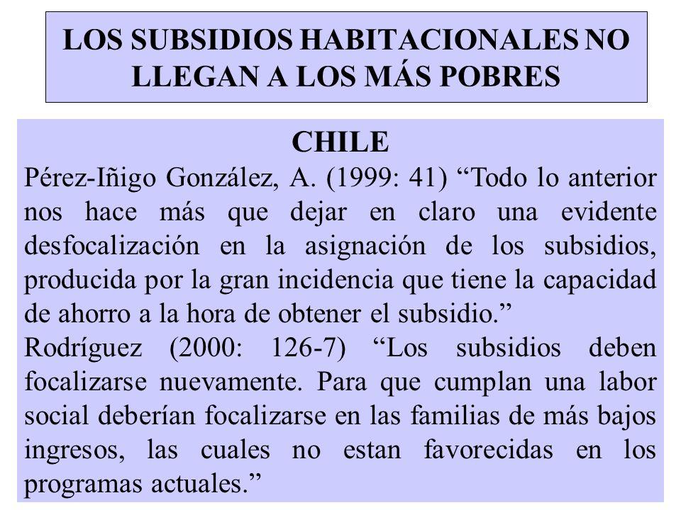 LOS SUBSIDIOS HABITACIONALES NO LLEGAN A LOS MÁS POBRES