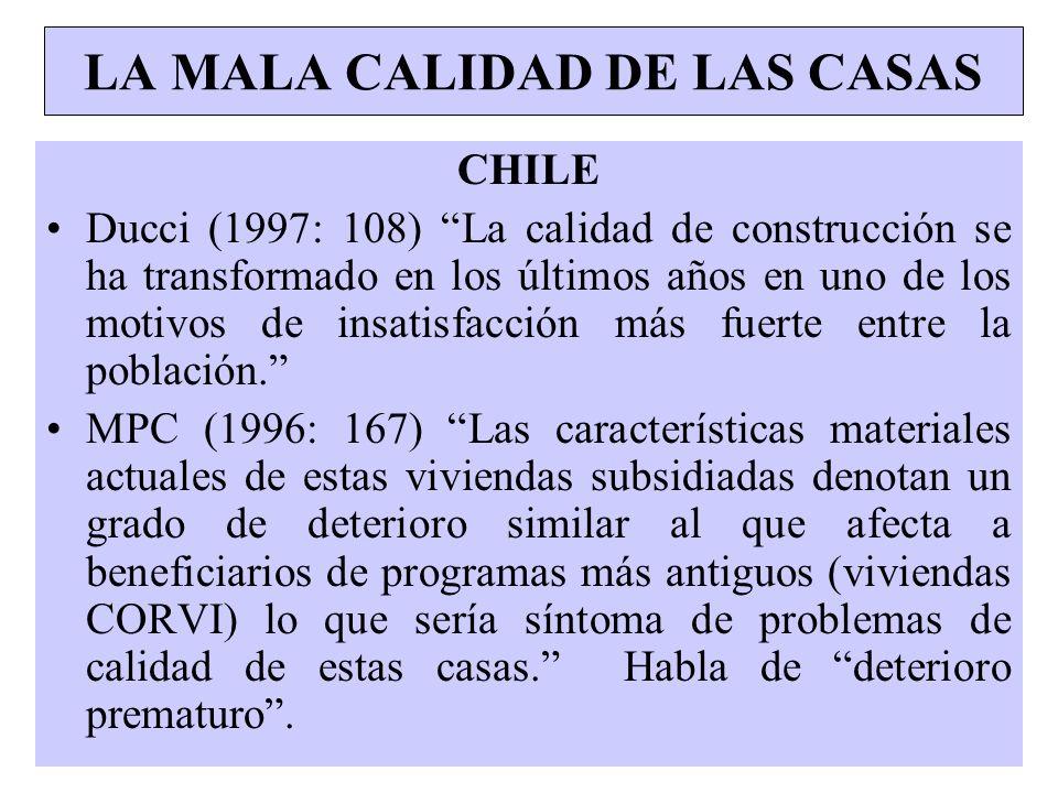 LA MALA CALIDAD DE LAS CASAS