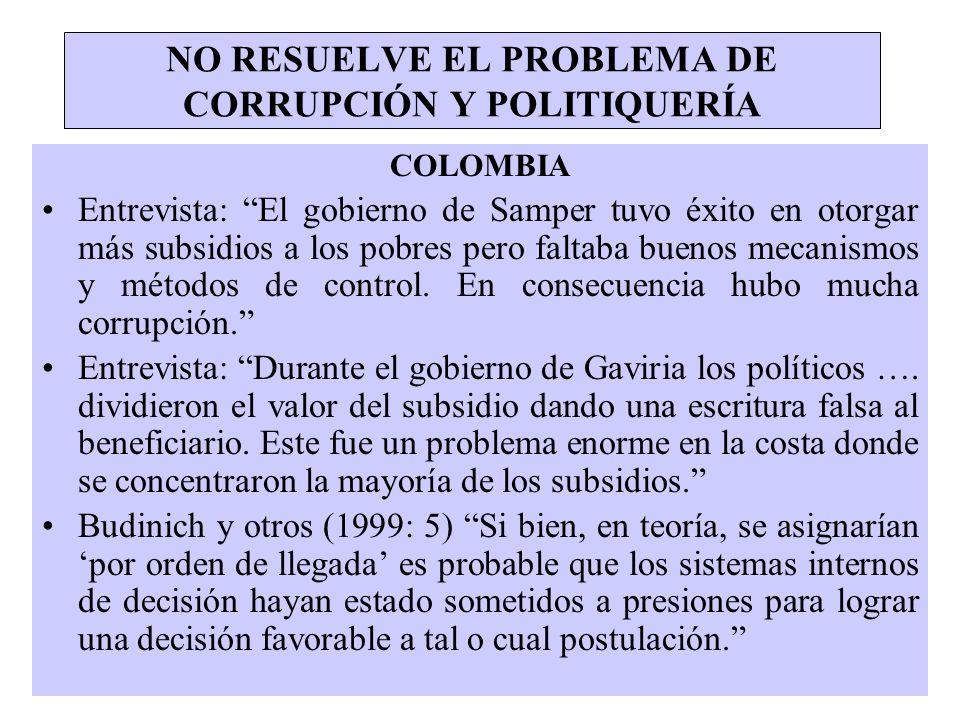 NO RESUELVE EL PROBLEMA DE CORRUPCIÓN Y POLITIQUERÍA