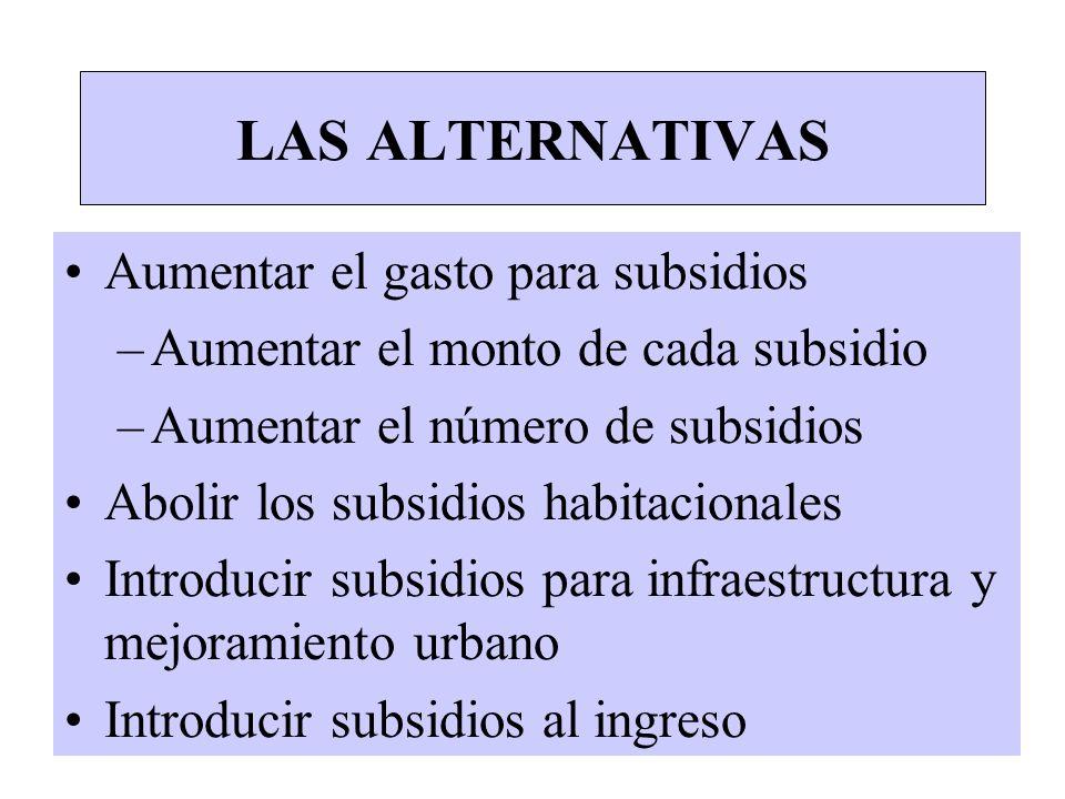 LAS ALTERNATIVAS Aumentar el gasto para subsidios