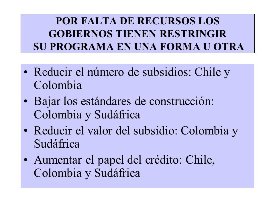 Reducir el número de subsidios: Chile y Colombia