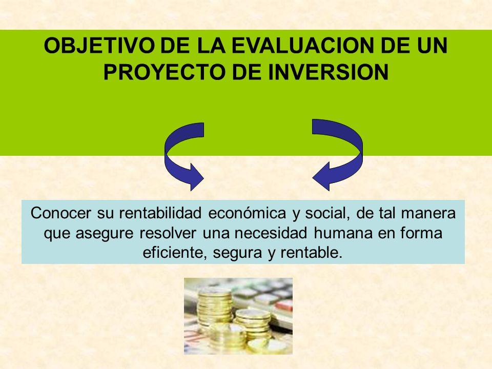 OBJETIVO DE LA EVALUACION DE UN PROYECTO DE INVERSION