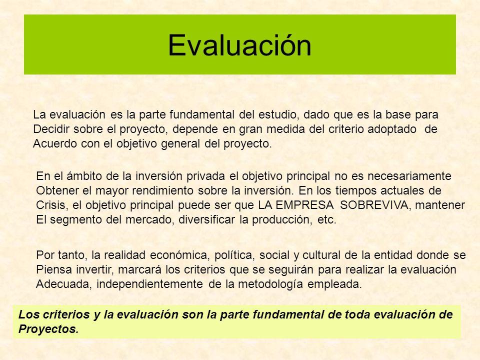 Evaluación La evaluación es la parte fundamental del estudio, dado que es la base para.