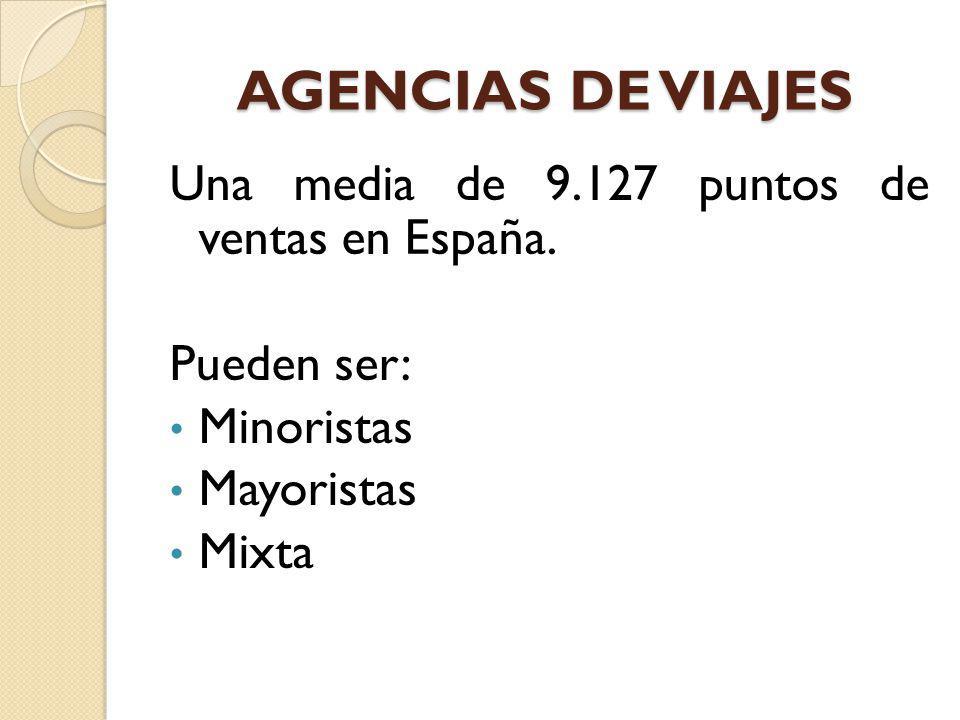 AGENCIAS DE VIAJES Una media de 9.127 puntos de ventas en España.