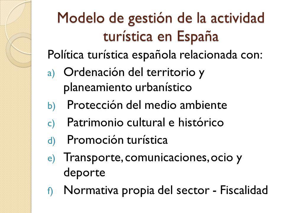 Modelo de gestión de la actividad turística en España