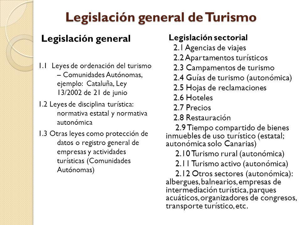 Legislación general de Turismo