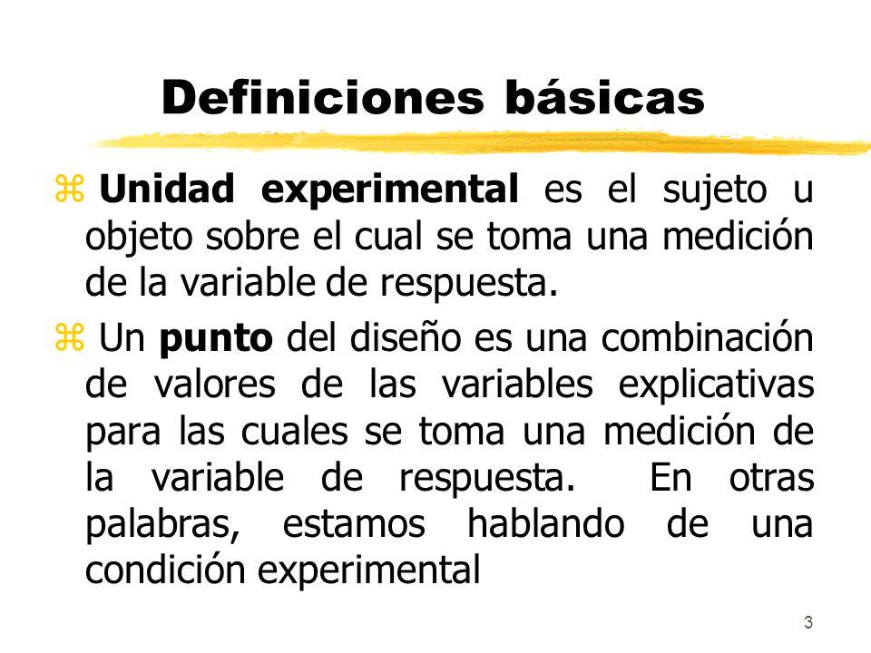 Definiciones básicas Unidad experimental es el sujeto u objeto sobre el cual se toma una medición de la variable de respuesta.