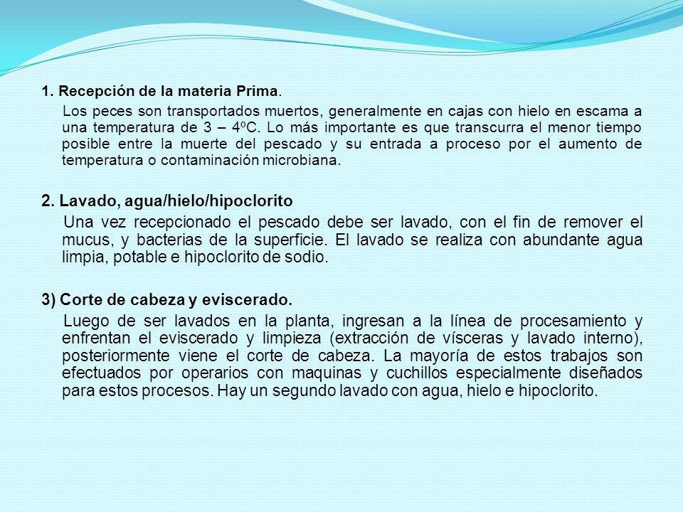 2. Lavado, agua/hielo/hipoclorito