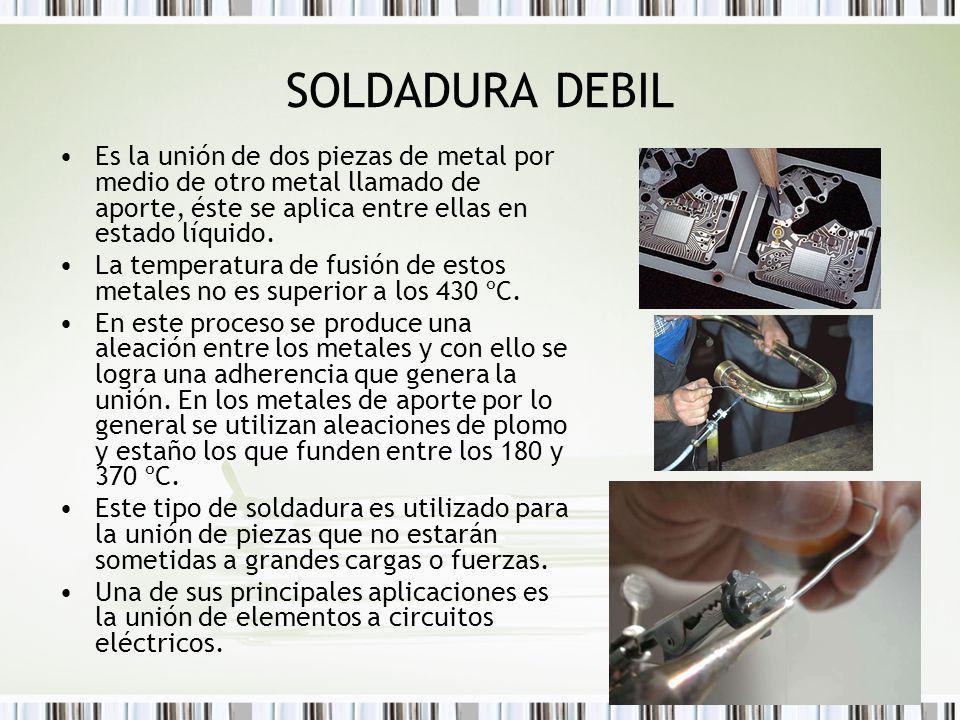 SOLDADURA DEBIL Es la unión de dos piezas de metal por medio de otro metal llamado de aporte, éste se aplica entre ellas en estado líquido.