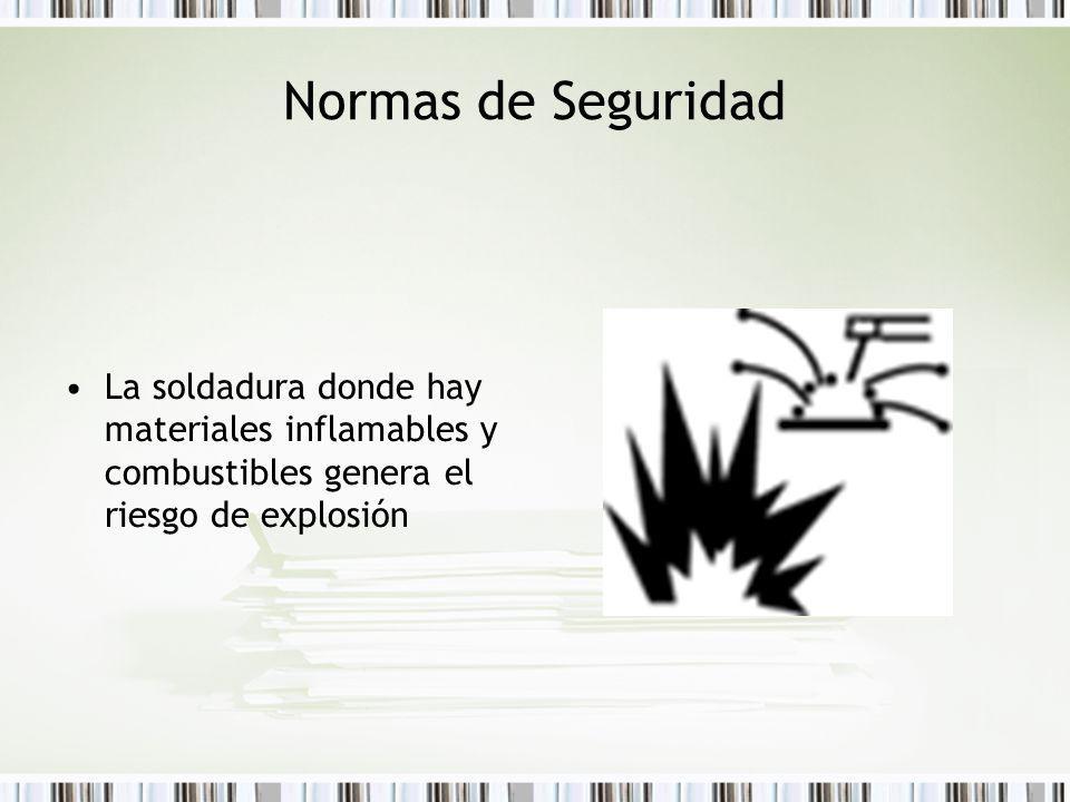 Normas de Seguridad La soldadura donde hay materiales inflamables y combustibles genera el riesgo de explosión.