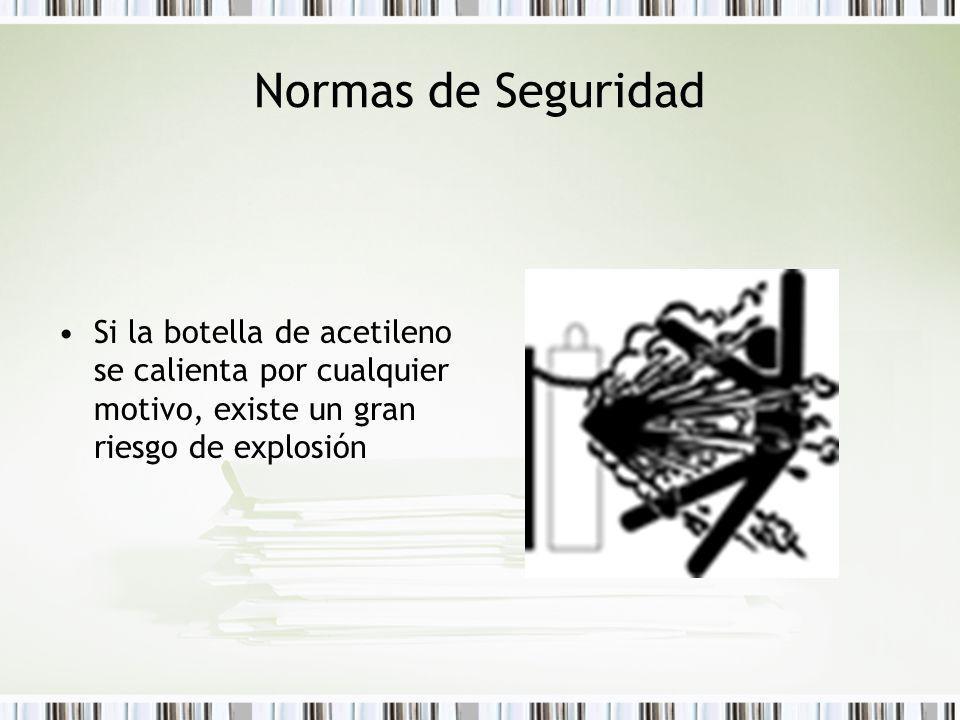 Normas de Seguridad Si la botella de acetileno se calienta por cualquier motivo, existe un gran riesgo de explosión.