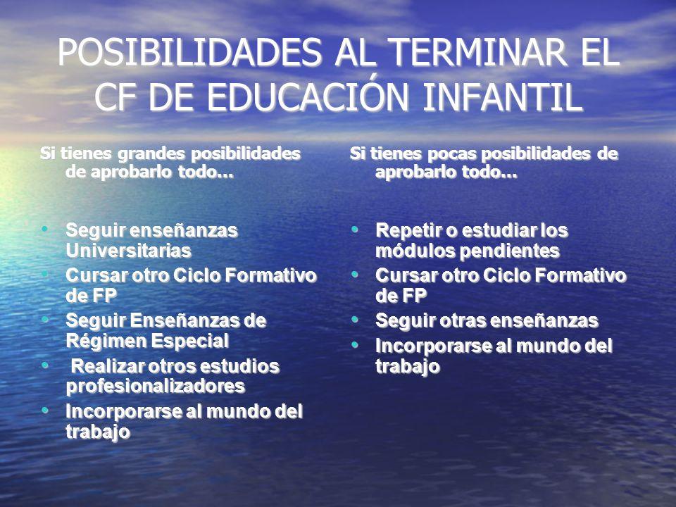 POSIBILIDADES AL TERMINAR EL CF DE EDUCACIÓN INFANTIL