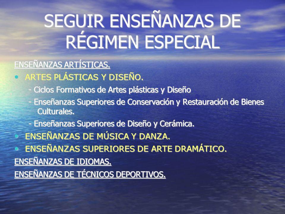 SEGUIR ENSEÑANZAS DE RÉGIMEN ESPECIAL