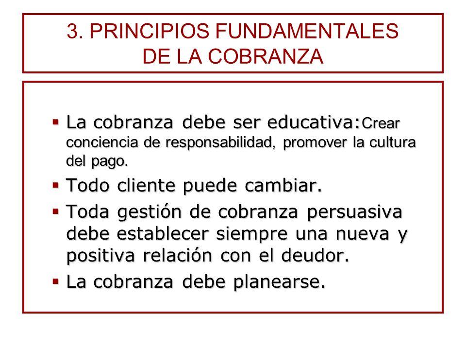 3. PRINCIPIOS FUNDAMENTALES DE LA COBRANZA