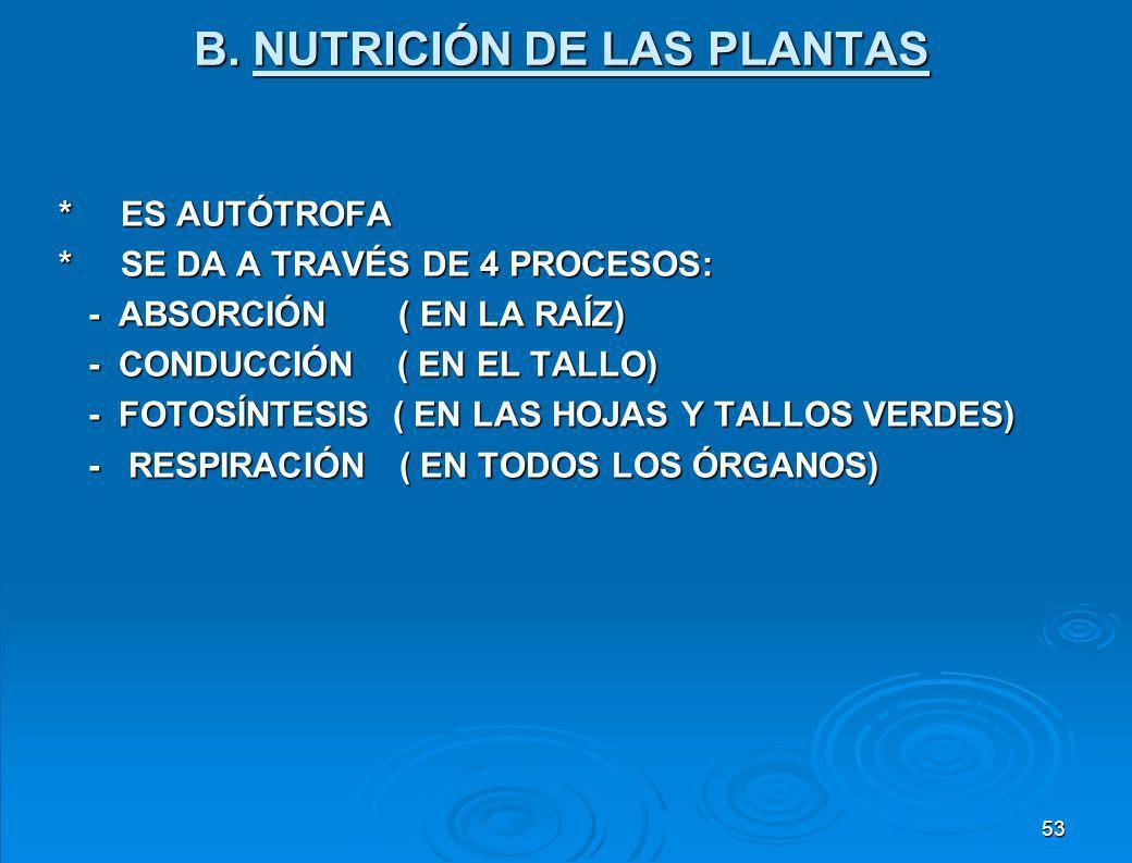 B. NUTRICIÓN DE LAS PLANTAS
