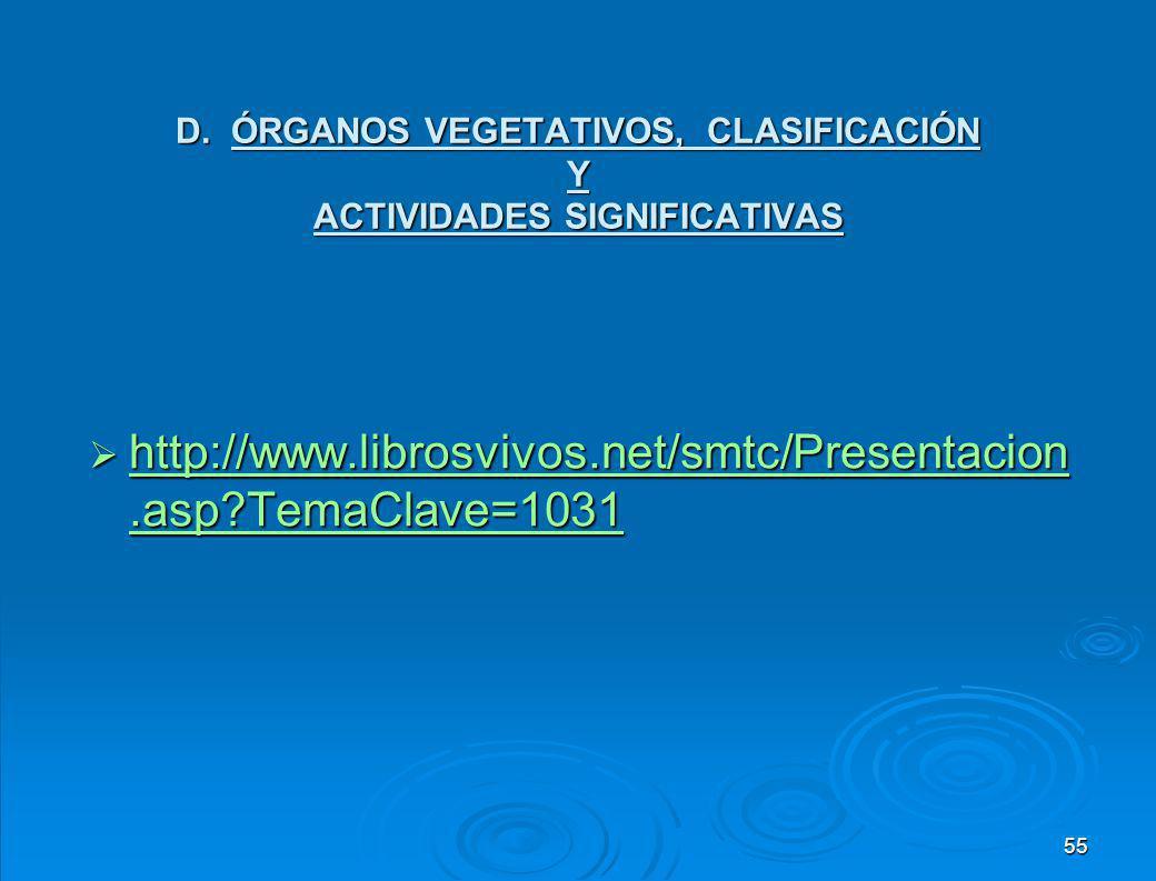 D. ÓRGANOS VEGETATIVOS, CLASIFICACIÓN Y ACTIVIDADES SIGNIFICATIVAS
