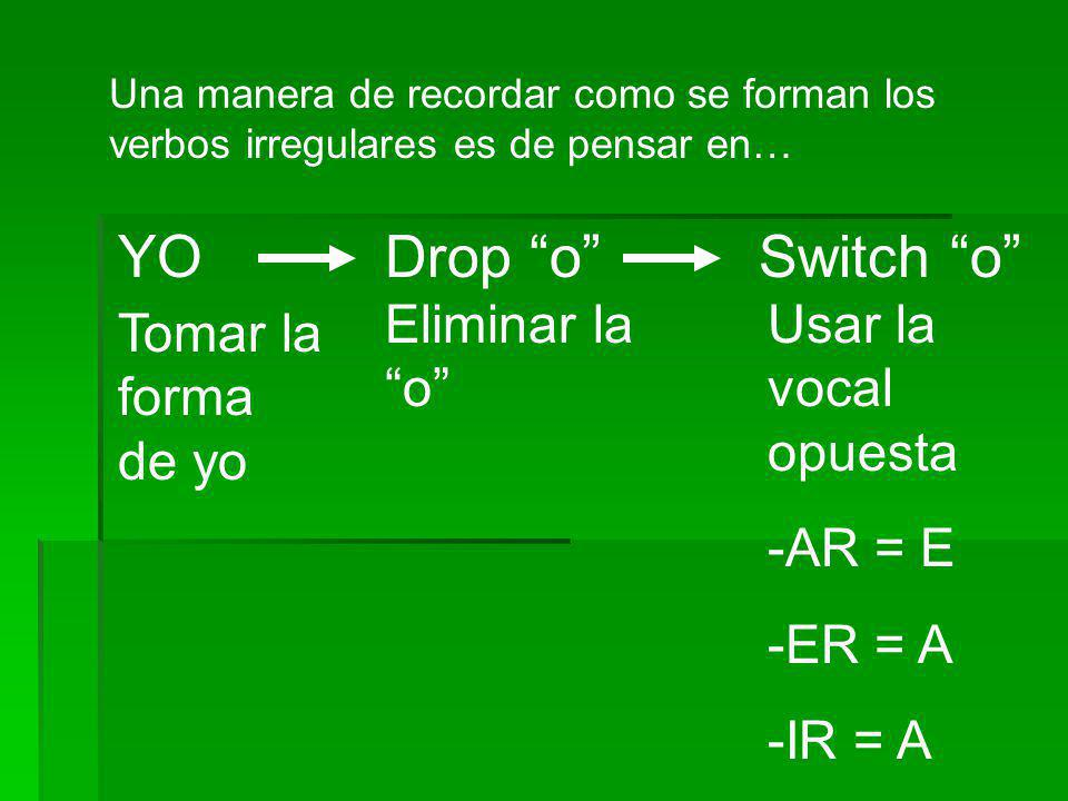 YO Drop o Switch o Eliminar la o Usar la vocal opuesta -AR = E