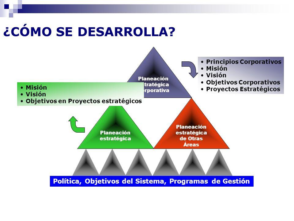 ¿CÓMO SE DESARROLLA Planeación estratégica Corporativa. Principios Corporativos. Misión. Visión.