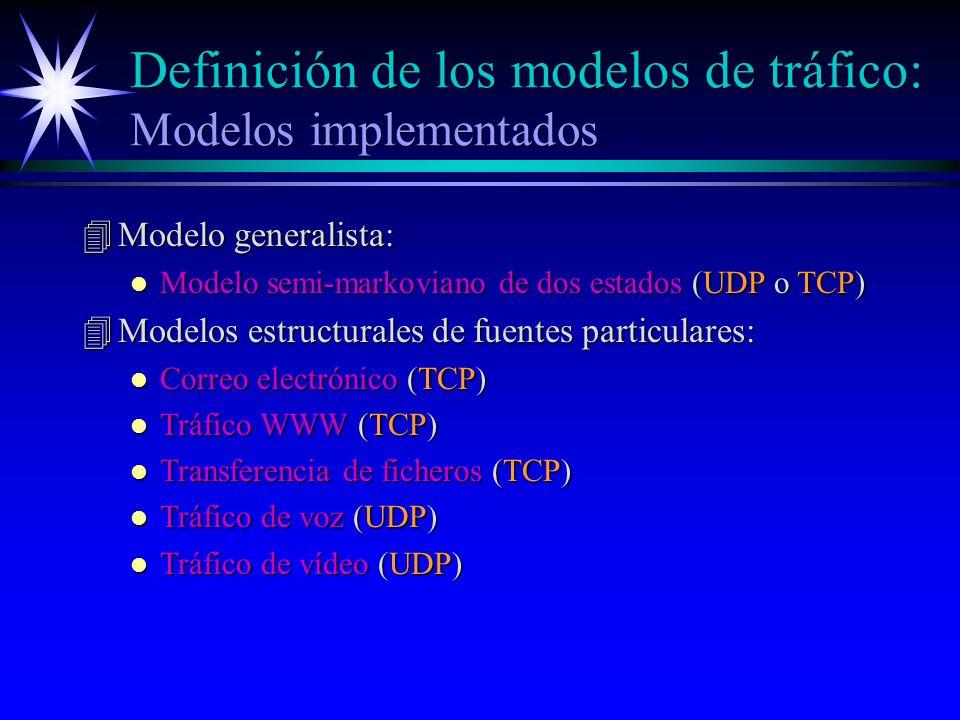 Definición de los modelos de tráfico: Modelos implementados
