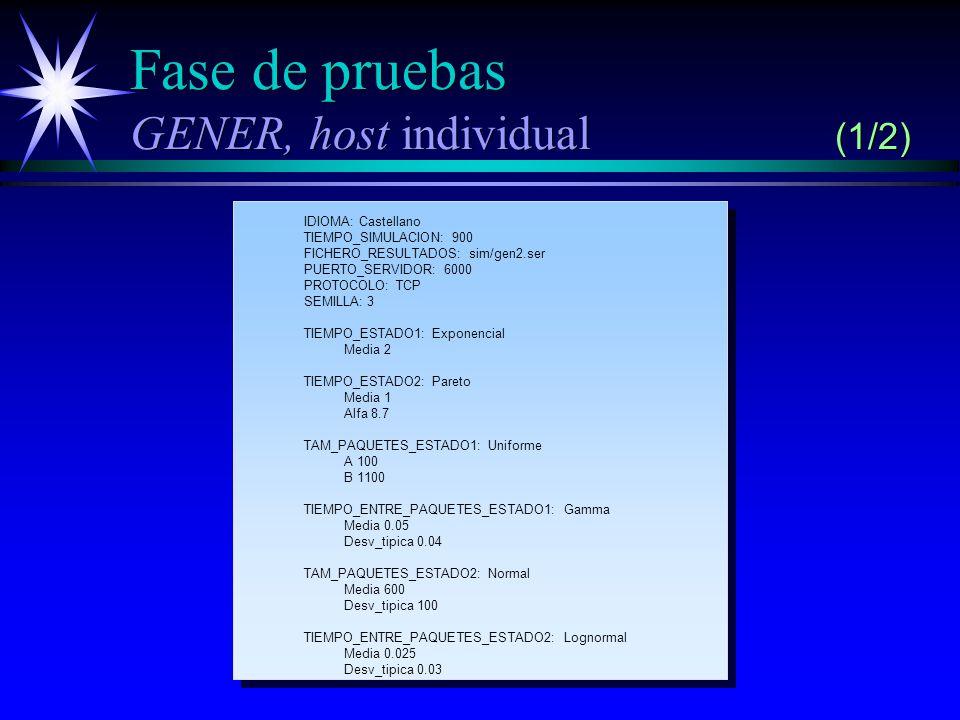 Fase de pruebas GENER, host individual (1/2)