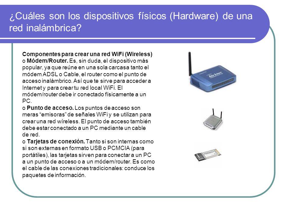 ¿Cuáles son los dispositivos físicos (Hardware) de una red inalámbrica