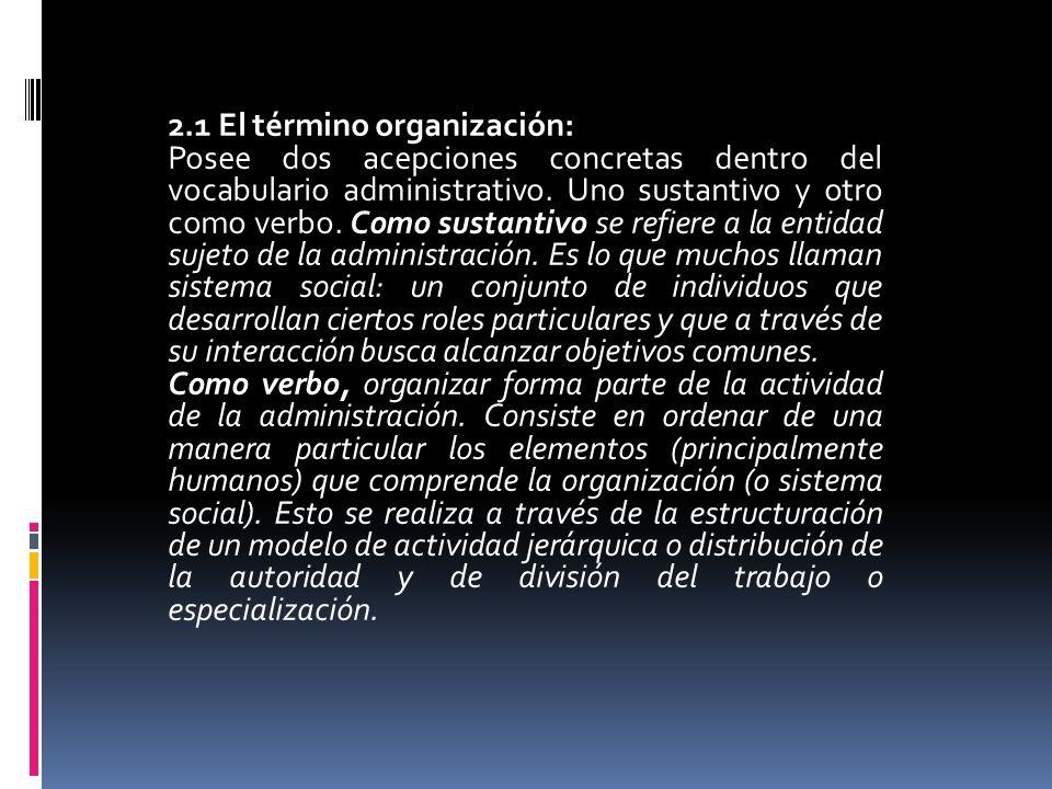 2.1 El término organización:
