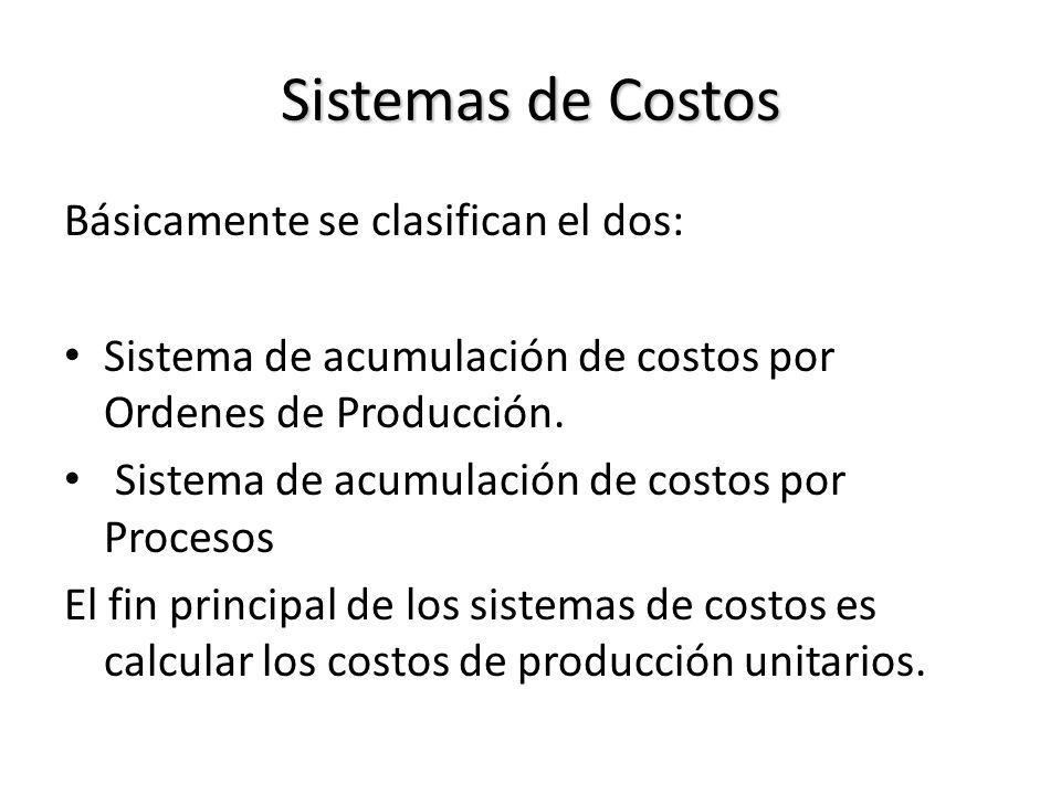 Sistemas de Costos Básicamente se clasifican el dos: