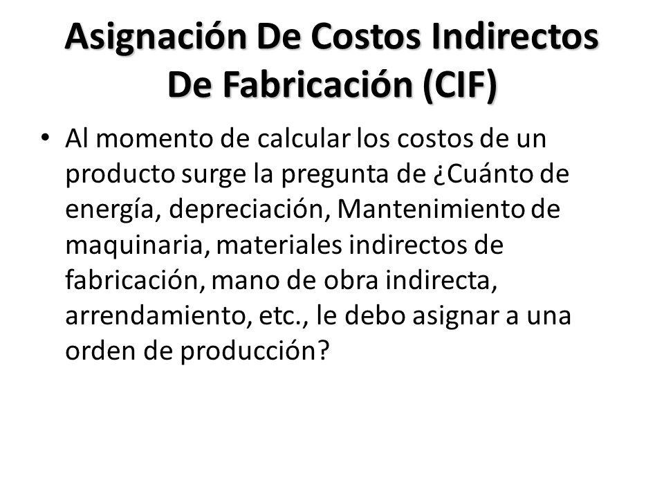 Asignación De Costos Indirectos De Fabricación (CIF)