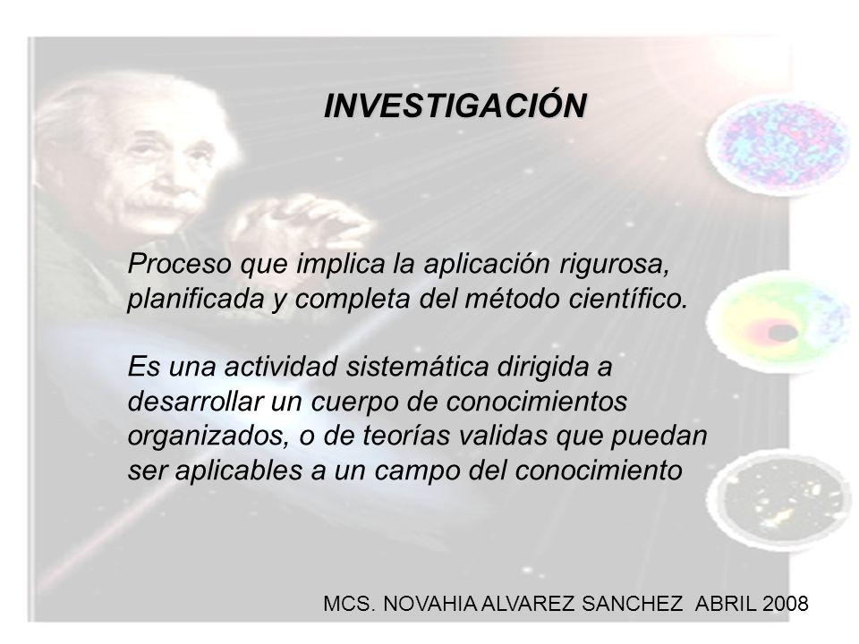 INVESTIGACIÓN Proceso que implica la aplicación rigurosa, planificada y completa del método científico.