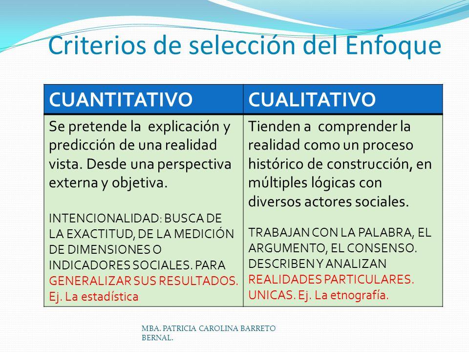Criterios de selección del Enfoque