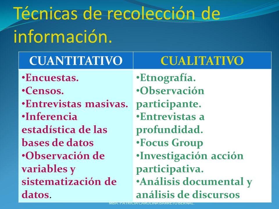 Técnicas de recolección de información.