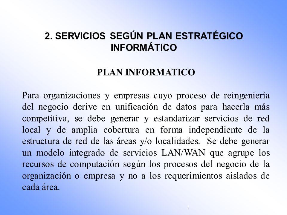 2. SERVICIOS SEGÚN PLAN ESTRATÉGICO INFORMÁTICO