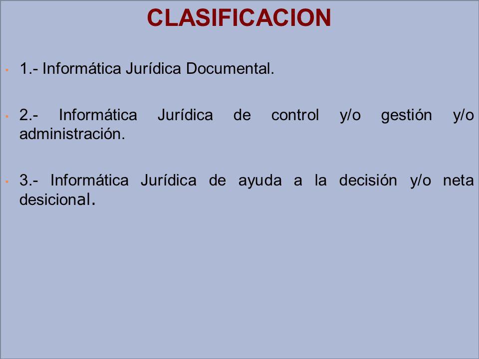 CLASIFICACION 1.- Informática Jurídica Documental.
