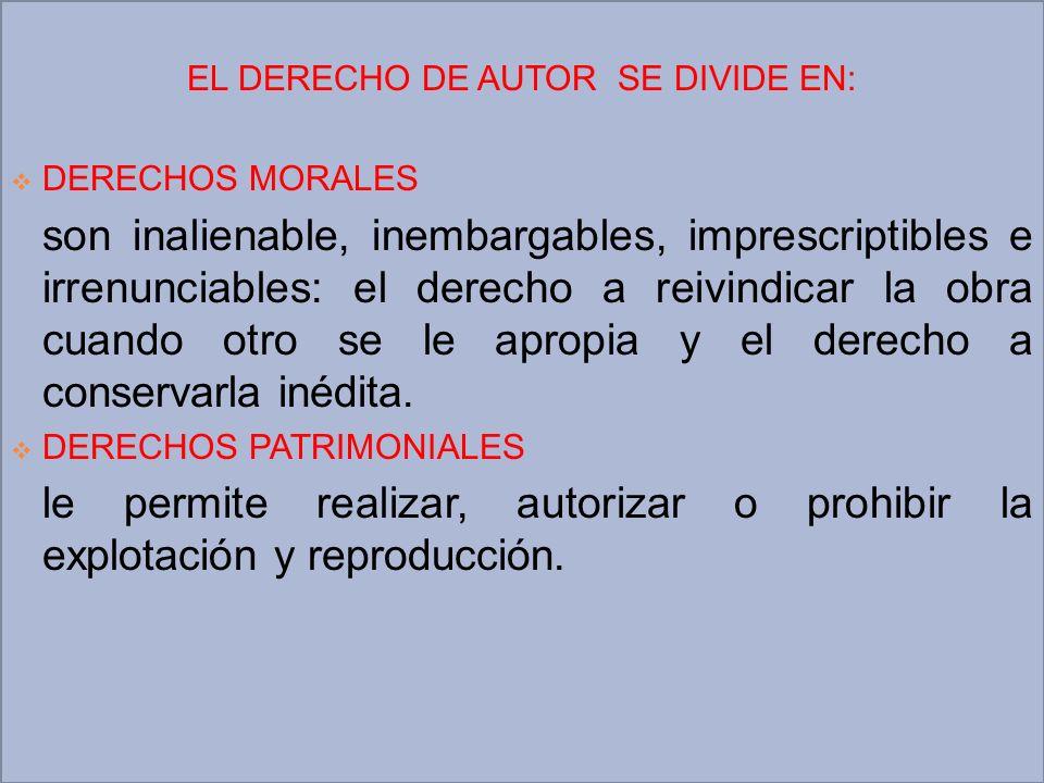 EL DERECHO DE AUTOR SE DIVIDE EN: