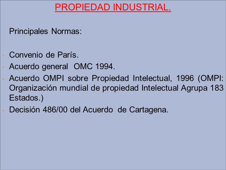 PROPIEDAD INDUSTRIAL. Principales Normas: Convenio de París.