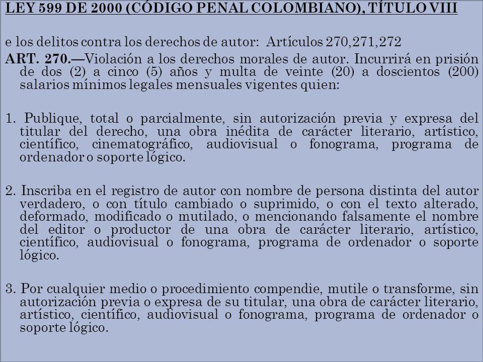 LEY 599 DE 2000 (CÓDIGO PENAL COLOMBIANO), TÍTULO VIII