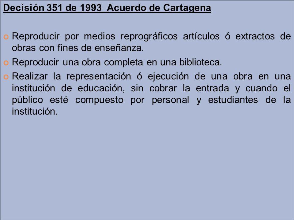 Decisión 351 de 1993 Acuerdo de Cartagena