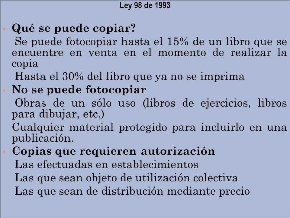 Hasta el 30% del libro que ya no se imprima No se puede fotocopiar