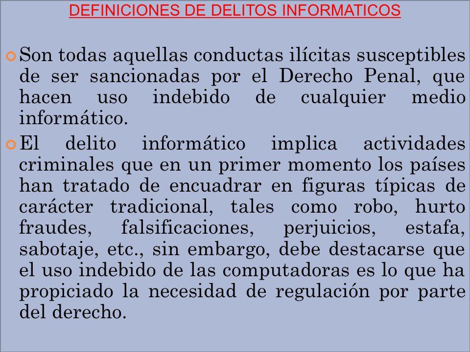 DEFINICIONES DE DELITOS INFORMATICOS