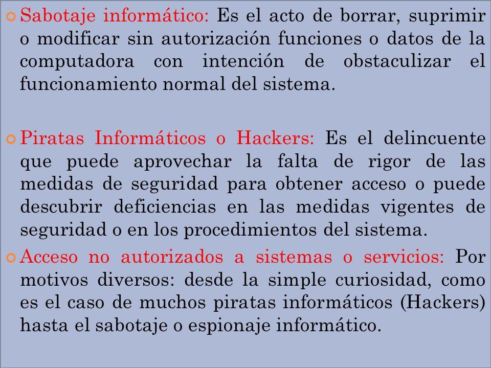 Sabotaje informático: Es el acto de borrar, suprimir o modificar sin autorización funciones o datos de la computadora con intención de obstaculizar el funcionamiento normal del sistema.
