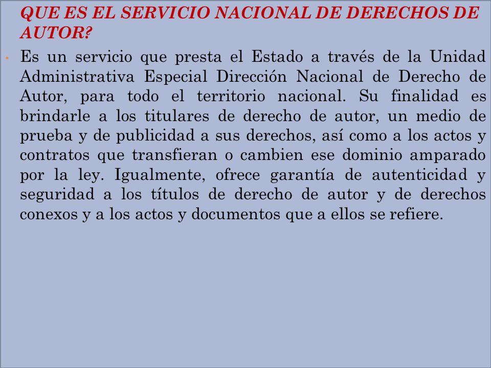 QUE ES EL SERVICIO NACIONAL DE DERECHOS DE AUTOR