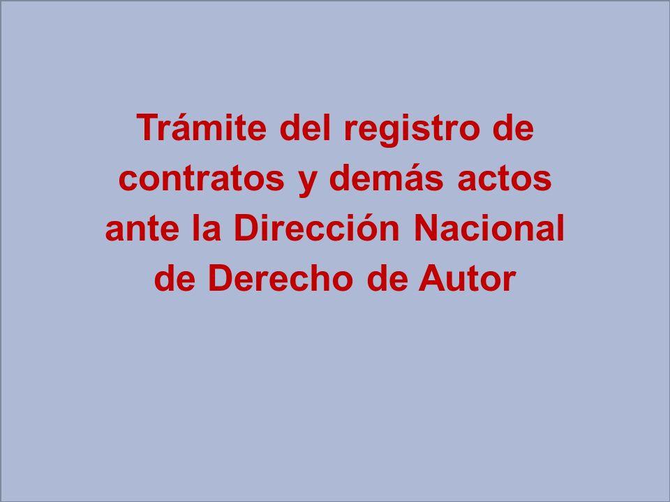 Trámite del registro de contratos y demás actos