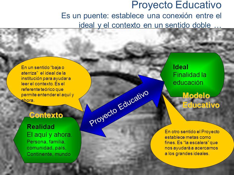 Proyecto Educativo Es un puente: establece una conexión entre el ideal y el contexto en un sentido doble …