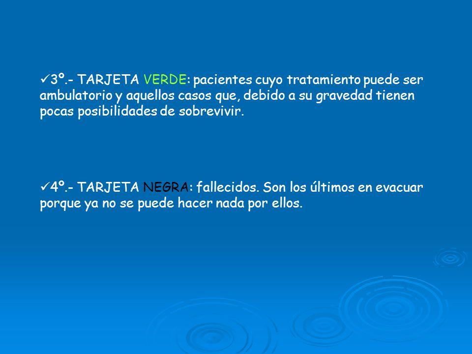 3º.- TARJETA VERDE: pacientes cuyo tratamiento puede ser ambulatorio y aquellos casos que, debido a su gravedad tienen pocas posibilidades de sobrevivir.