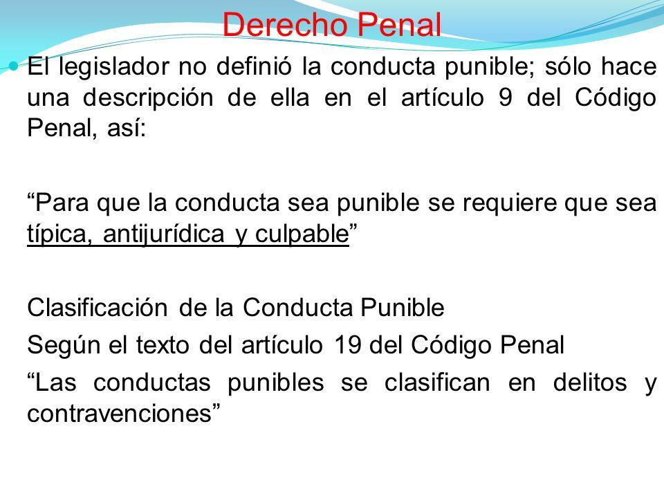 Derecho Penal El legislador no definió la conducta punible; sólo hace una descripción de ella en el artículo 9 del Código Penal, así: