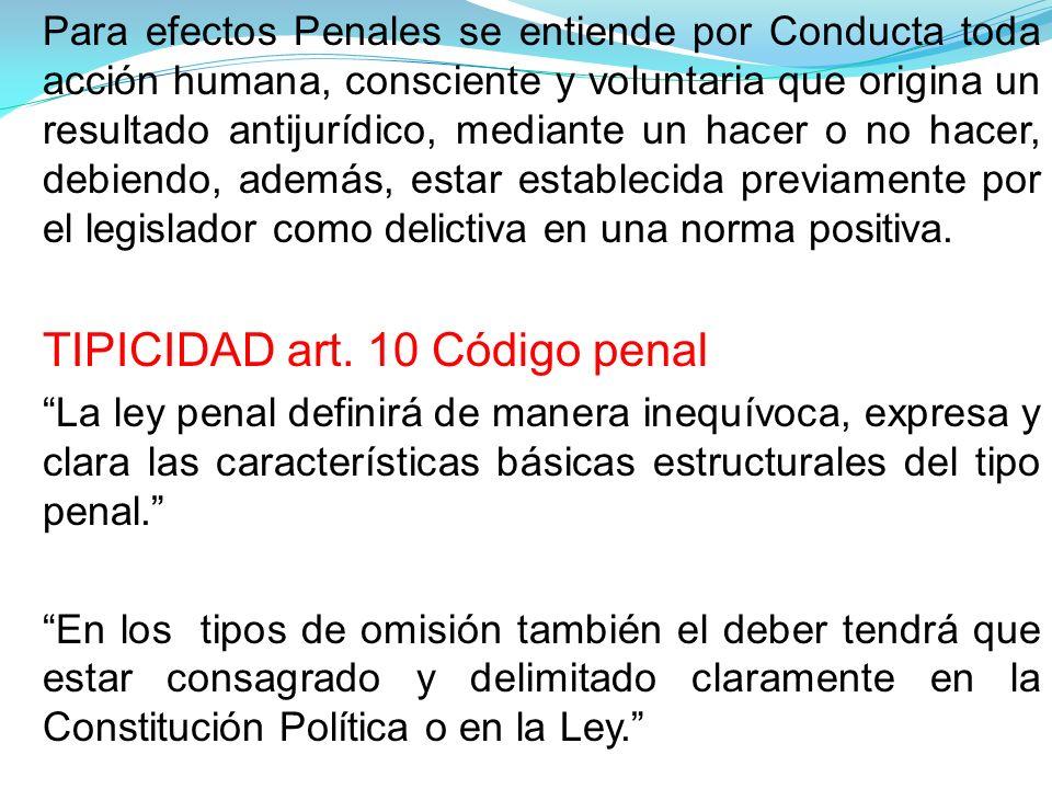 TIPICIDAD art. 10 Código penal