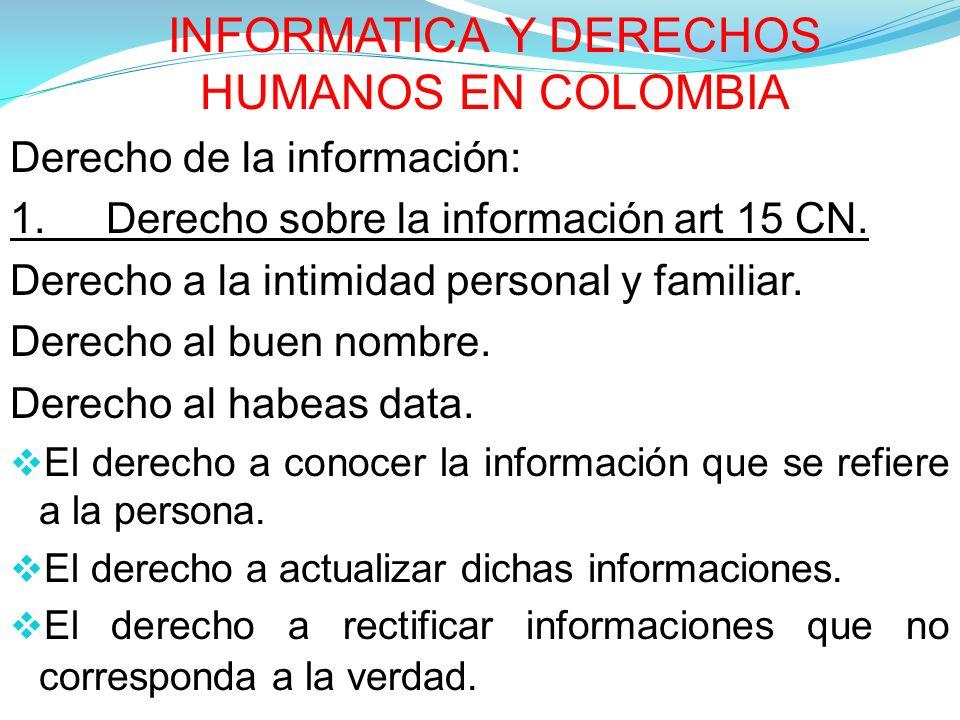 INFORMATICA Y DERECHOS HUMANOS EN COLOMBIA