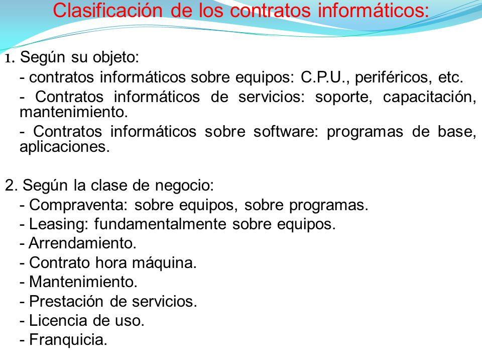 Clasificación de los contratos informáticos: