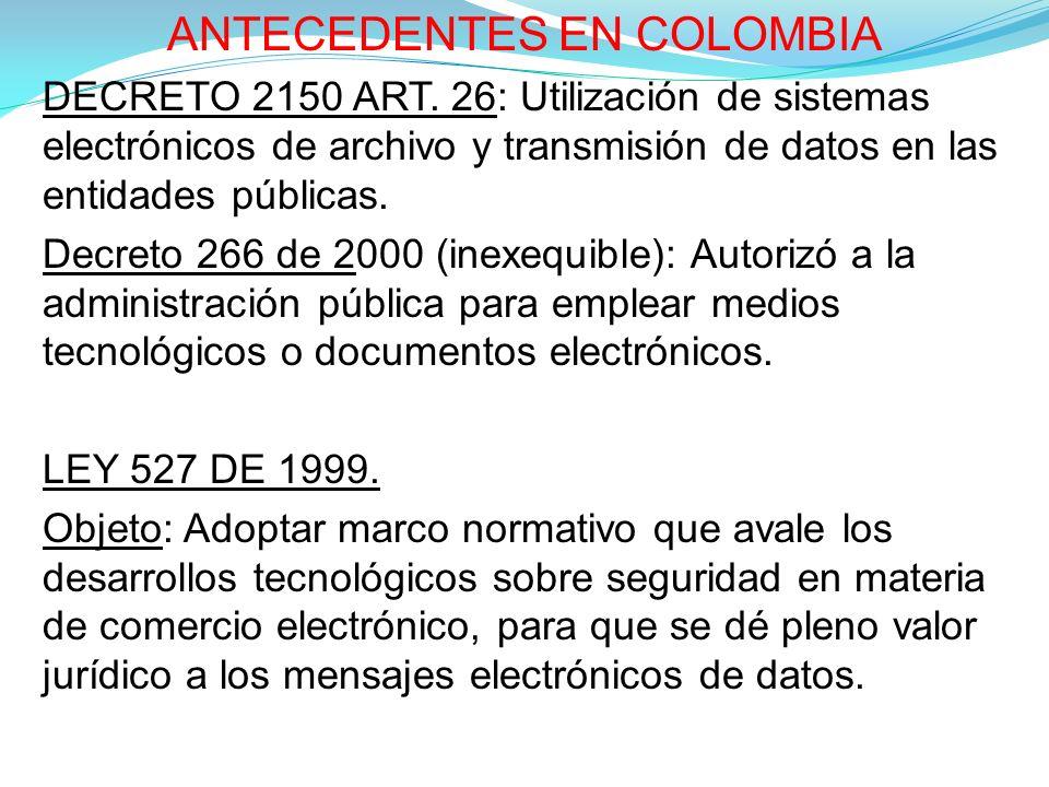 ANTECEDENTES EN COLOMBIA