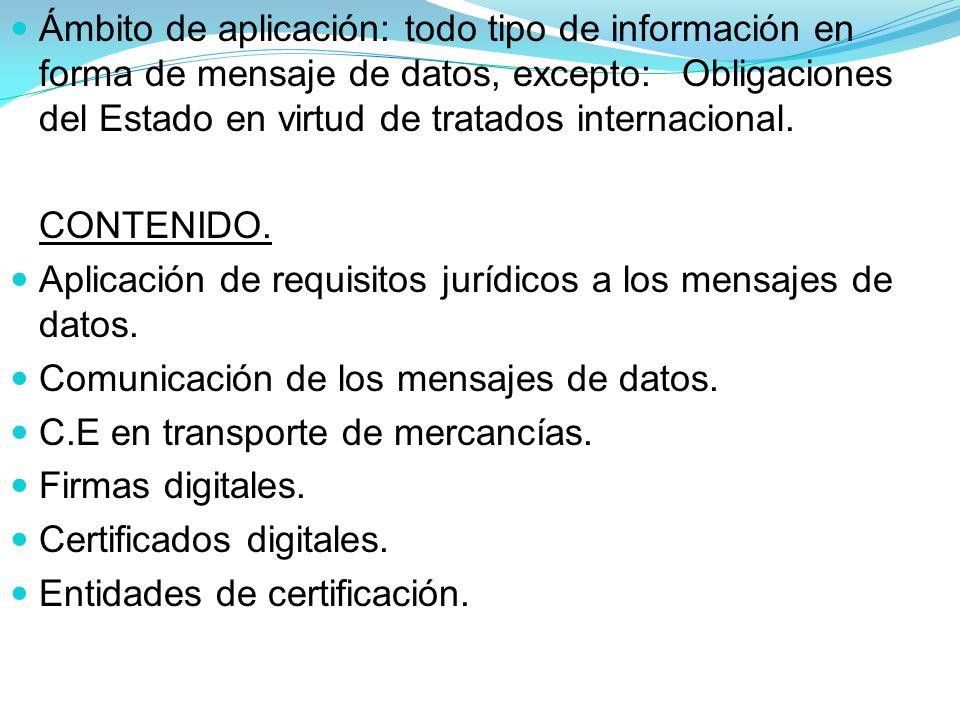 Ámbito de aplicación: todo tipo de información en forma de mensaje de datos, excepto: Obligaciones del Estado en virtud de tratados internacional.